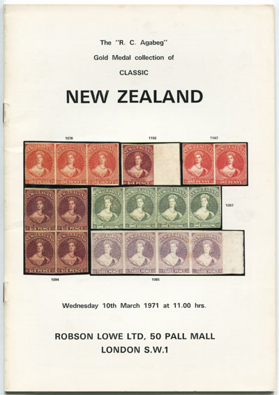 1971 (10 Mar) R.C. Agabeg Gold Medal collection of classic New Zealand.
