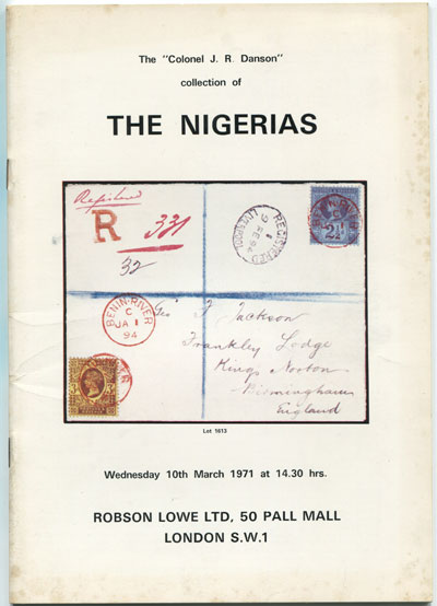 1971 (10 Mar) Colonel J.R. Danson collection of The Nigerias.