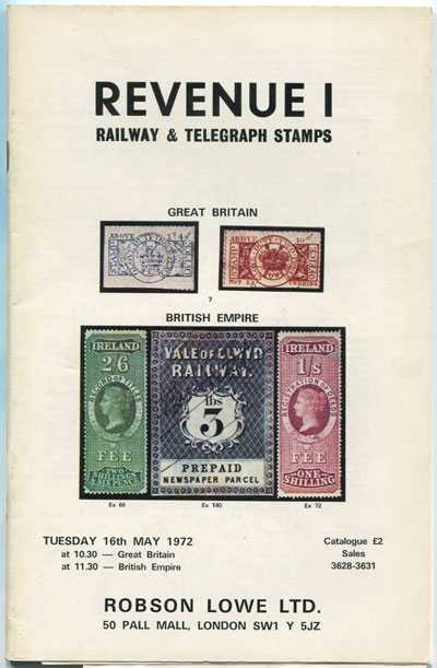1972 (16 May) Revenue Railway and Telegraph Stamps formed by Dr Albert E. Thill.