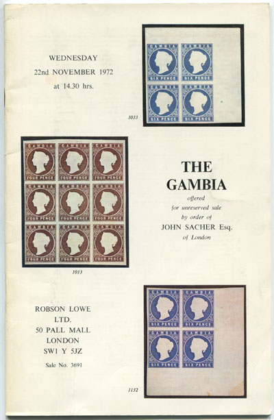 1972 (22 Nov) The Gambia offered by John Sacher.