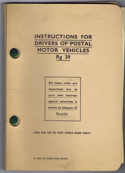ANON Instructions for drivers of postal motor vehicles. - (For the use of Post Office staff only)