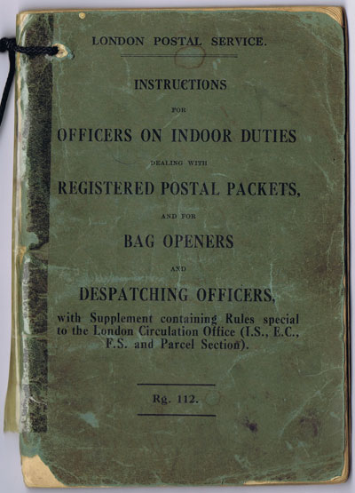 ANON Instructions for officers on indoor duties dealing with registered postal packets, and for bag openers and despatching officers.