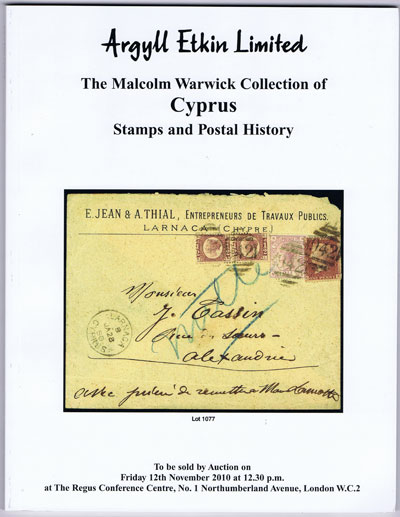 2010 (12 Nov) Malcolm Warwick collection of Cyprus stamps and postal history.