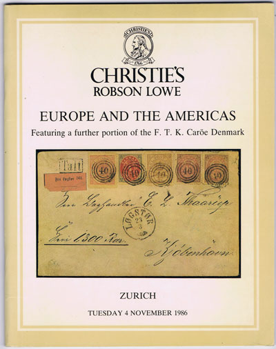 1986 (4 Nov) Europe and the Americas. Featuring a further portion of the F.T.K. Caroe Denmark.