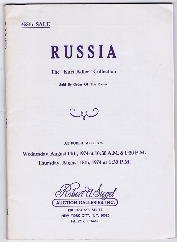 1974 (14-15 Aug) Russia. The Kurt Adler collection.