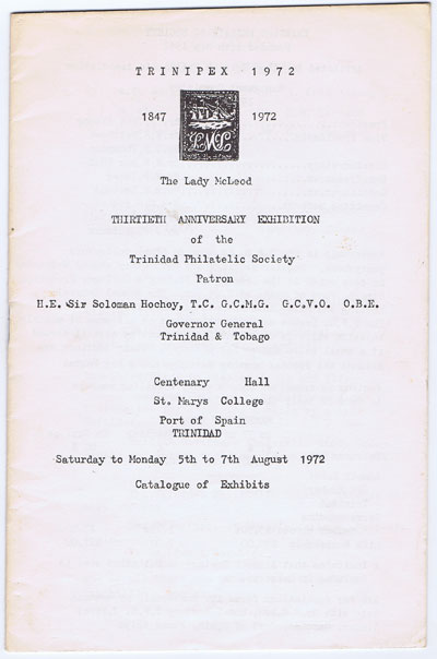 ANON Trinipex 1972. - Thirtieth Anniversary Exhibition of the Trinidad  Philatelic Society.