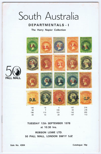 1978 (12-26 Sep) South Australia Departmentals. The Harry Napier collection Part 1.