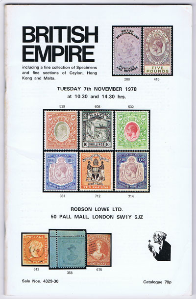 1978 (7 Nov) British Empire including fine collection of Specimens and fine Ceylon, Hong Kong and Malta.