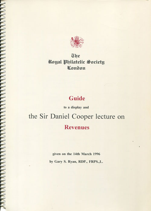 RYAN Gary S. Guide to a display and the Sir Daniel Cooper Lecture on Revenues.