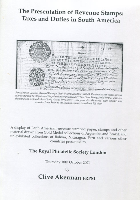 AKERMAN Clive The presentation of revenue stamps: taxes and duties in South America.
