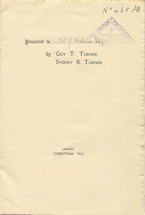 TURNER Sidney  The First Issue of Turkey 1863. Some further notes. Secret Marks. Forgeries.