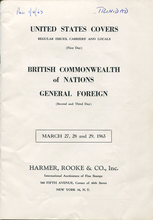 1963 (27-29 Mar) United States Covers. British Commonwealth of Nations. General Foreign.