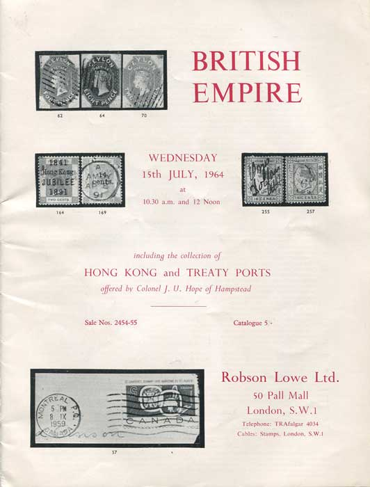 1964 (15 July) British Empire - including the collection of Hong Kong and Treaty Ports offered by Colonel J.U. Hope.