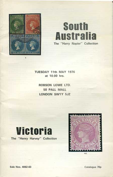 1976 (11 May) South Australia. The Harry Napier collection & Victoria. The Henry Harvey collection.