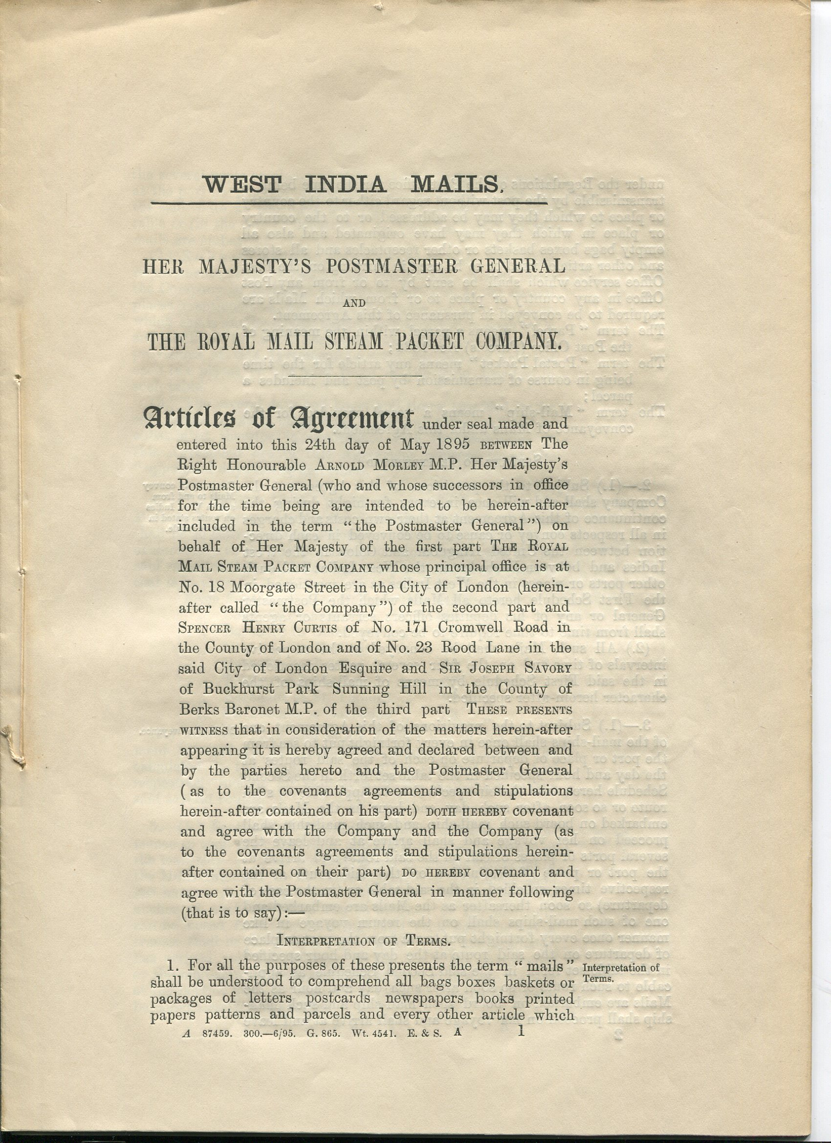 1895 West India Mails. Her majesty