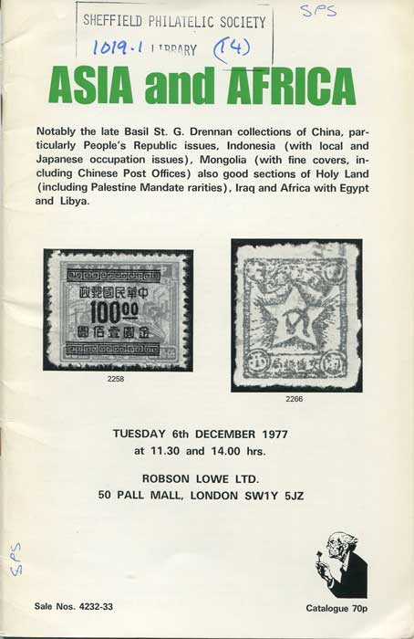 1977 Asia and Africa, notably the late Basil St G. Drennan collections of China