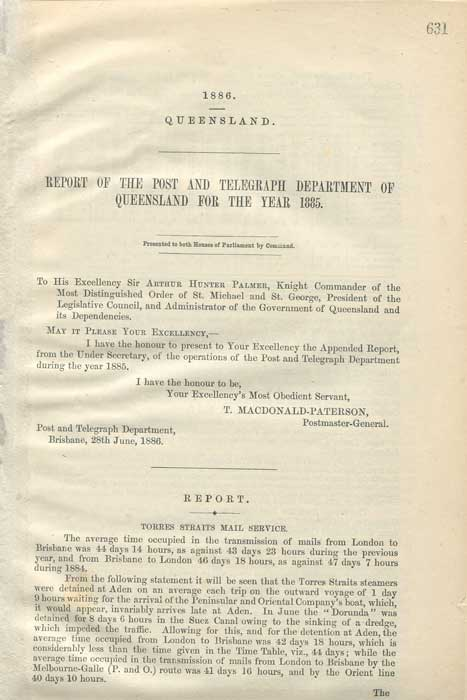 QUEENSLAND Report of the Post and Telegraph Department of Queensland for the year 1885