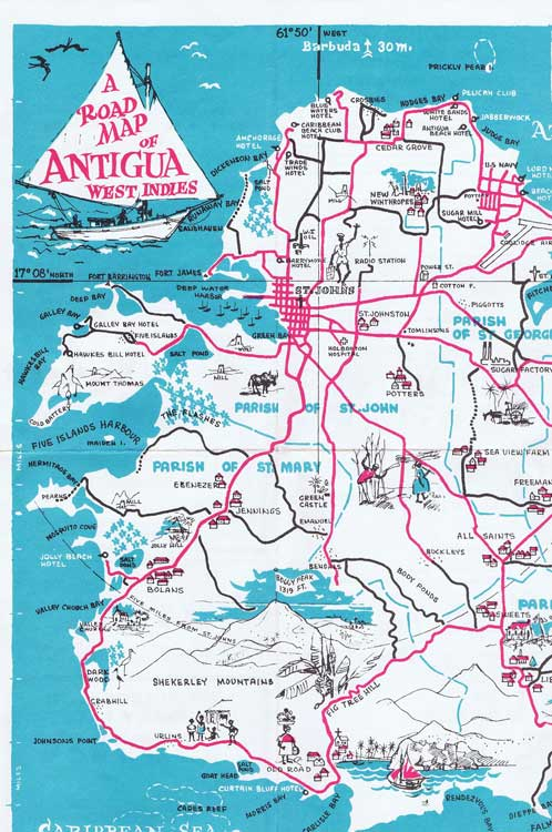 ANTIGUA Road Map of Antigua