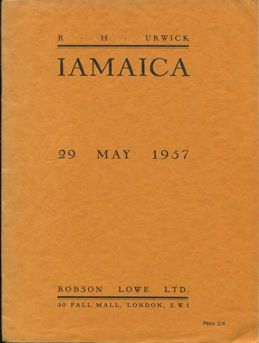 1957 (29 May) sale of R.H. Urwick Jamaica