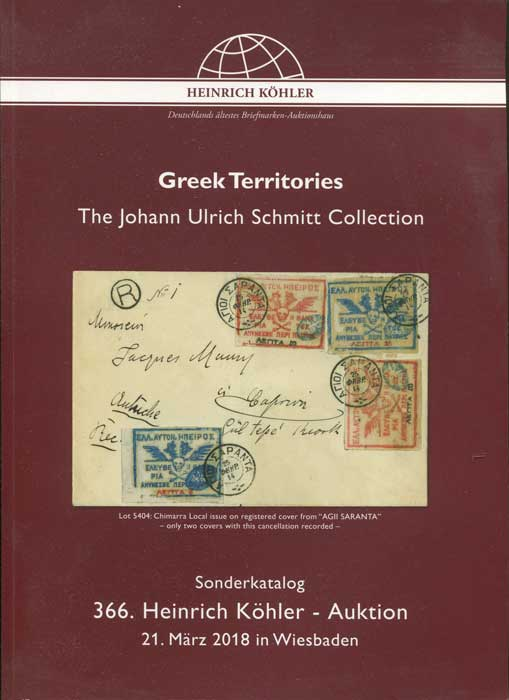 2018 (21 Mar) Greek Territories. The Johann Ulrich Schmitt Collection.
