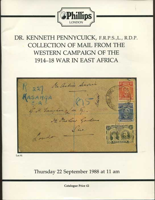 1988 (22 Sep) Dr Kenneth Pennycuick collection of mail from the western campaign of the 1914-18 war in East Africa