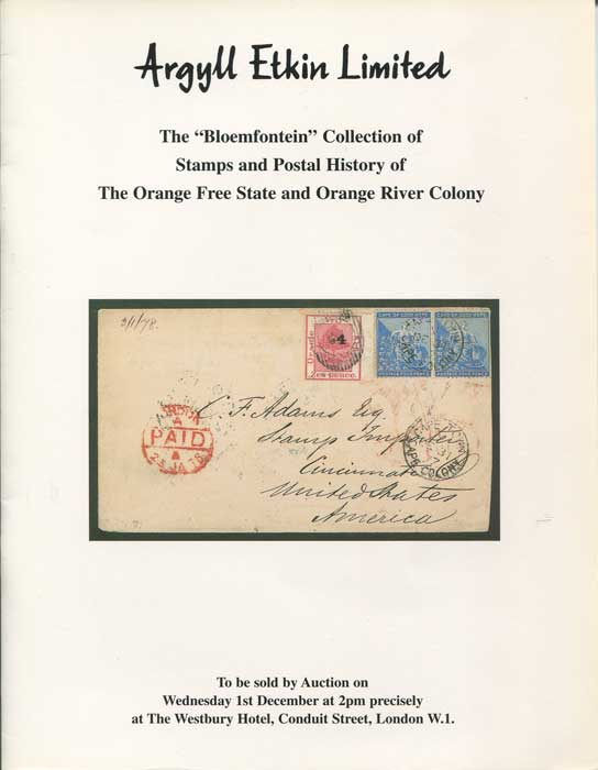 1999 (1 Dec) Bloemfontein collection of stamps and postal history of the Orange Free State and Orange River Colony