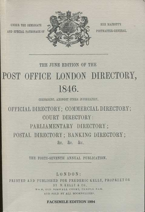 POST OFFICE The Post Office London Directory, 1846