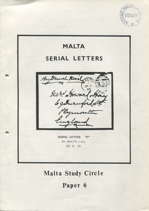 MALTA Serial Letters in the 19th & 20th Centuries