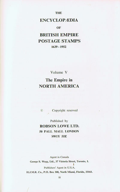 LOWE Robson Encyclopaedia of Br. Empire postage stamps.  Vol. V. - North America.