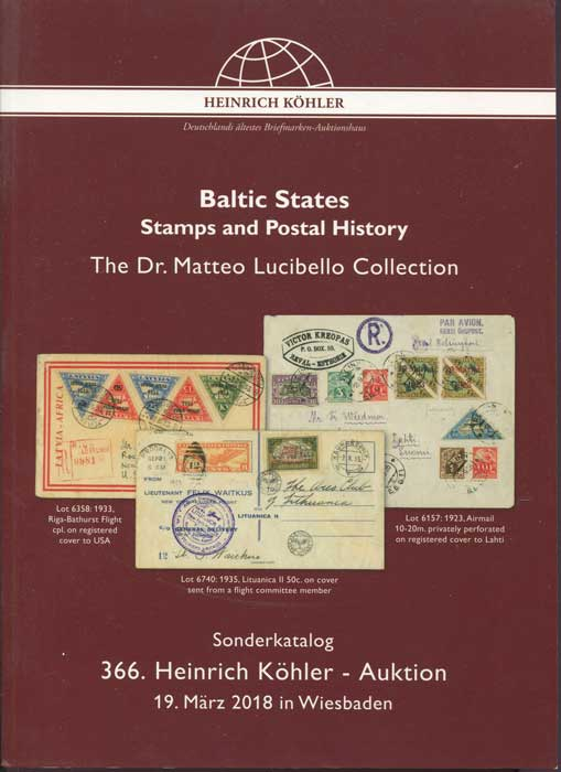 2018 (19 Mar) Baltic States stamps and postal history. The Dr Matteo Lucibello collection